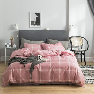 2019新款-全棉简约轻奢系列四件套 床单款1.2m(4英尺)床 巴黎之约(红)