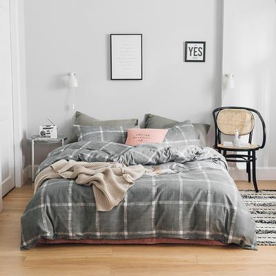 2019新款-全棉简约轻奢系列四件套 床单款1.2m(4英尺)床 巴黎之约(灰)