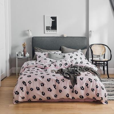 2019新款-全棉简约轻奢系列四件套 床单款1.2m(4英尺)床 豹纹芭比(粉)