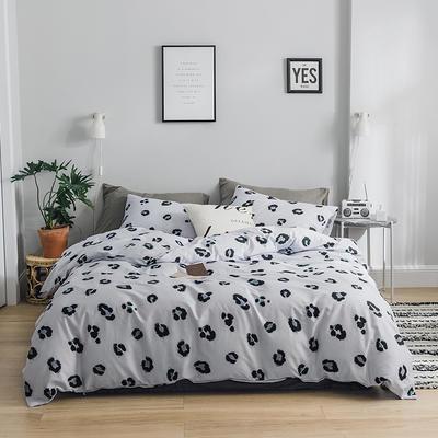 2019新款-全棉简约轻奢系列四件套 床单款1.2m(4英尺)床 豹纹芭比.灰