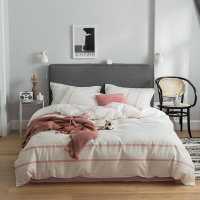 2019新款-全棉简约轻奢系列四件套 床单款1.2m(4英尺)床 美丽邂逅(粉)