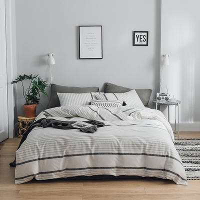 2019新款-全棉简约轻奢系列四件套 床单款1.2m(4英尺)床 美丽邂逅(灰)