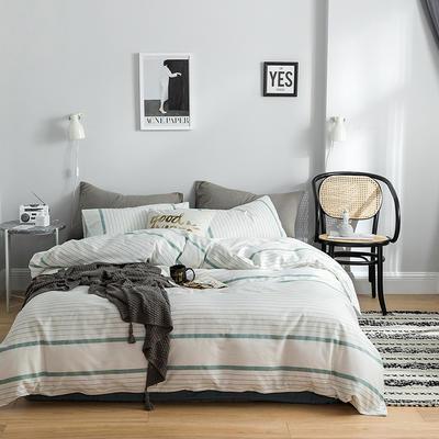 2019新款-全棉简约轻奢系列四件套 床单款1.2m(4英尺)床 美丽邂逅(蓝)