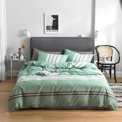 2019新款-全棉简约轻奢系列四件套 床单款1.5m(5英尺)床 时尚秀(绿)