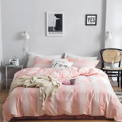2019新款-全棉简约轻奢系列四件套 床单款1.2m(4英尺)床 唯美爱情(粉)
