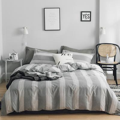 2019新款-全棉简约轻奢系列四件套 床单款1.2m(4英尺)床 唯美爱情(灰)