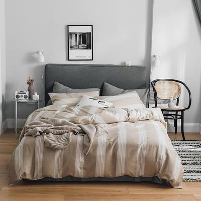 2019新款-全棉简约轻奢系列四件套 床单款1.5m(5英尺)床 唯美爱情(咖)