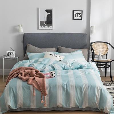 2019新款-全棉简约轻奢系列四件套 床单款1.2m(4英尺)床 唯美爱情(蓝)