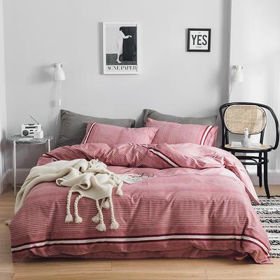 2019新款-全棉简约轻奢系列四件套 床单款1.2m(4英尺)床 星月神话(红)