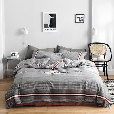 2019新款-全棉简约轻奢系列四件套 床单款1.2m(4英尺)床 星月神话(灰)