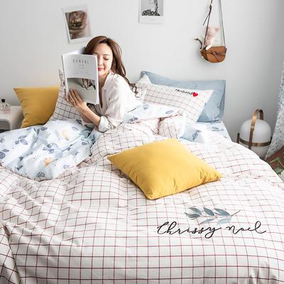 2019新款-功能型色织水洗棉四件套 三件套1.2m(4英尺)床 春华