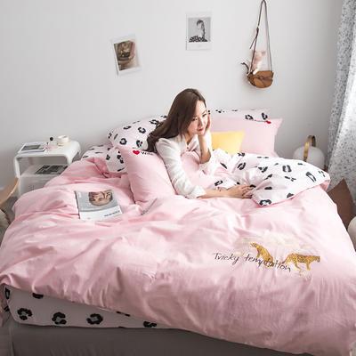 2019新款-功能型色织水洗棉四件套 三件套1.2m(4英尺)床 粉色豹纹