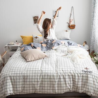 2019新款-功能型色织水洗棉四件套 三件套1.2m(4英尺)床 小蜜蜂