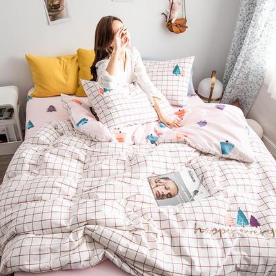 2019新款-功能型色织水洗棉四件套 三件套1.2m(4英尺)床 许愿树