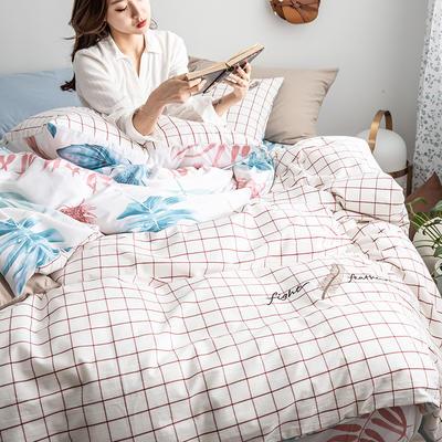 2019新款-功能型色织水洗棉四件套 三件套1.2m(4英尺)床 羽叶