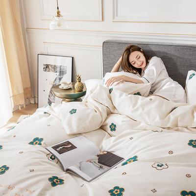 2019新款-北欧轻奢风系列四件套 三件套1.2m(4英尺)床 3小香香(奶白)