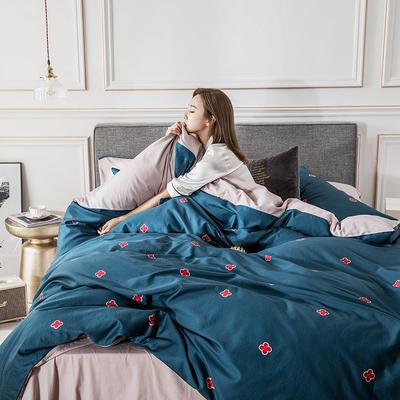 2019新款-北欧轻奢风系列四件套 三件套1.2m(4英尺)床 4.梵宝(蓝灰)