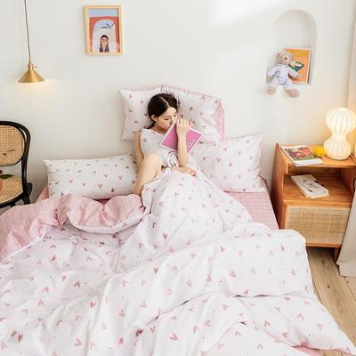 2019新款-网红小清新秋冬全棉四件套13372开学季学生三件套四件套 床单款三件套1.2m(4英尺)床 比心