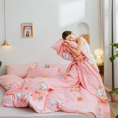 2019新款-网红小清新秋冬全棉四件套13372开学季学生三件套四件套 床单款三件套1.2m(4英尺)床 快乐小猪