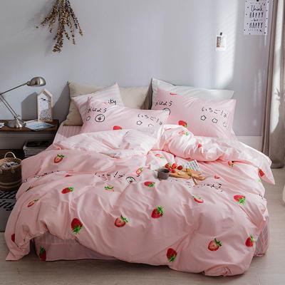 2019新款-网红小清新秋冬全棉四件套13372开学季学生三件套四件套 床单款三件套1.2m(4英尺)床 小草莓 粉