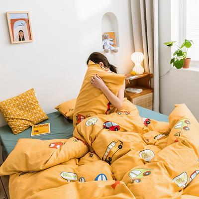2019新款-网红小清新秋冬全棉四件套13372开学季学生三件套四件套 床单款三件套1.2m(4英尺)床 小黄车