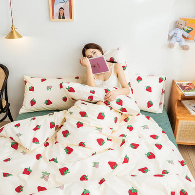 2019新款-网红小清新秋冬全棉四件套13372开学季学生三件套四件套 床单款三件套1.2m(4英尺)床 真爱
