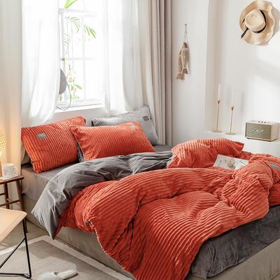 2019新款-魔法绒单品床单 180cmx230cm A橘红B灰