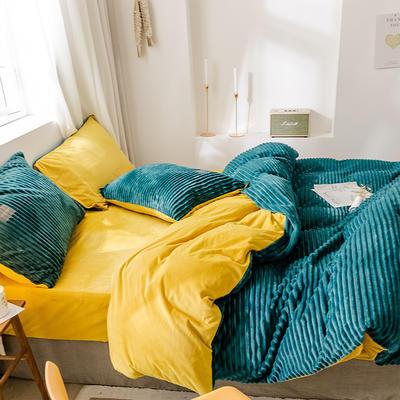 2019新款-魔法绒单品床单 180cmx230cm A气质墨绿B嫩黄-1