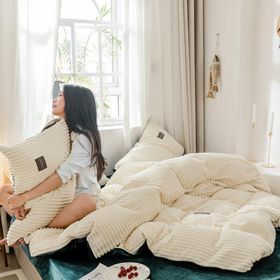 2019新款-魔法绒单品床笠 150cmx200cm A奶白B气质墨绿