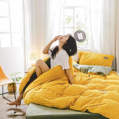 2019新款 -魔法绒四件套 床单款1.5m(5英尺)床 A佛系黄B抹茶绿