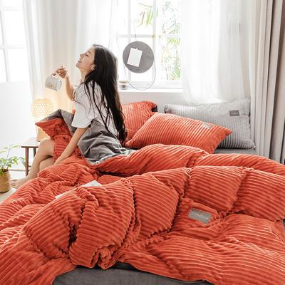 2019新款 -魔法绒四件套 床单款1.5m(5英尺)床 A橘红B灰