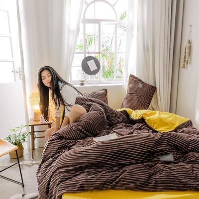 2019新款 -魔法绒四件套 床单款1.5m(5英尺)床 A咖B姜黄