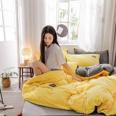 2019新款 -魔法绒四件套 床单款1.5m(5英尺)床 A嫩黄B灰