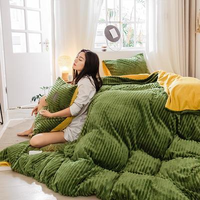 2019新款 -魔法绒四件套 床单款1.5m(5英尺)床 A牛油果绿B姜黄
