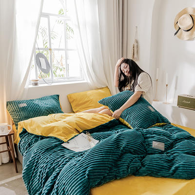 2019新款 -魔法绒四件套 床单款1.5m(5英尺)床 A气质墨绿B嫩黄-1
