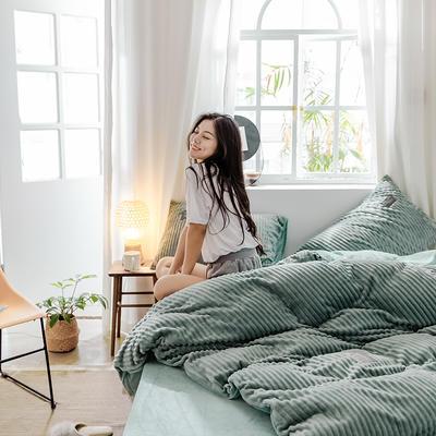 2019新款 -魔法绒四件套 床单款1.5m(5英尺)床 灰绿