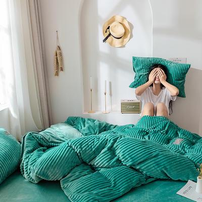 2019新款 -魔法绒四件套 床单款1.5m(5英尺)床 蓝绿
