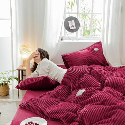 2019新款 -魔法绒四件套 床单款1.5m(5英尺)床 情调酒红