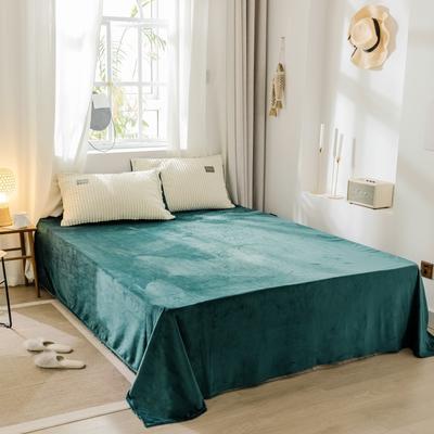 2019新款-水晶绒单品床单 180cmx230cm 气质墨绿床单床笠
