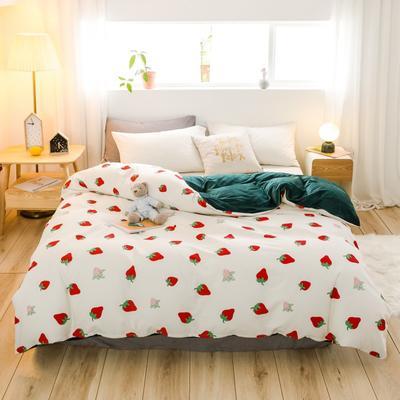 2019新款-治愈系秋冬棉绒单品被套 150x200cm 草莓派对被套
