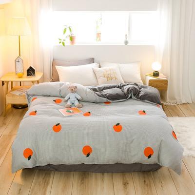 2019新款-治愈系秋冬棉绒单品被套 150x200cm 格子橙被套