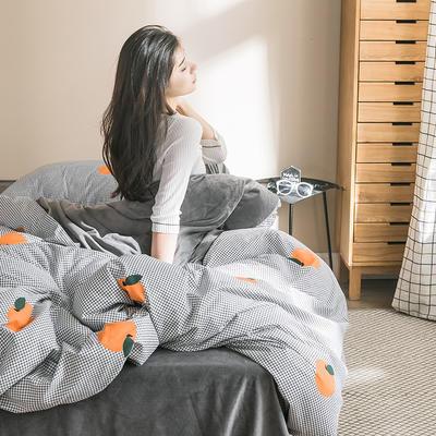 2019新款-治愈系秋冬棉绒四件套 床单款三件套1.2m(4英尺)床 格子橙