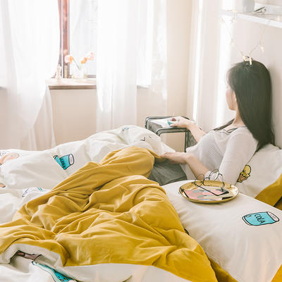 2019新款-治愈系秋冬棉绒四件套 床单款三件套1.2m(4英尺)床 网红猪
