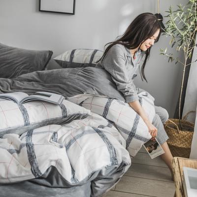 2019新款-治愈系秋冬棉绒四件套 床单款三件套1.2m(4英尺)床 北欧格