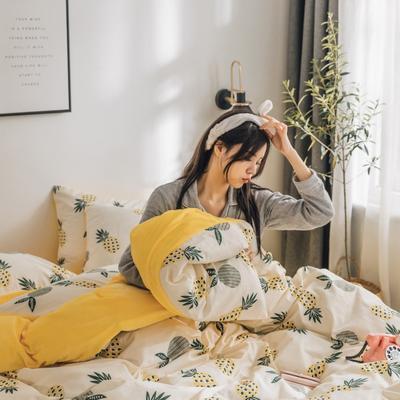 2019新款-治愈系秋冬棉绒四件套 床单款三件套1.2m(4英尺)床 菠萝蜜