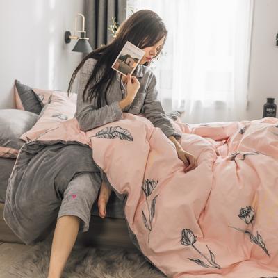 2019新款-治愈系秋冬棉绒四件套 床单款三件套1.2m(4英尺)床 玫瑰-粉