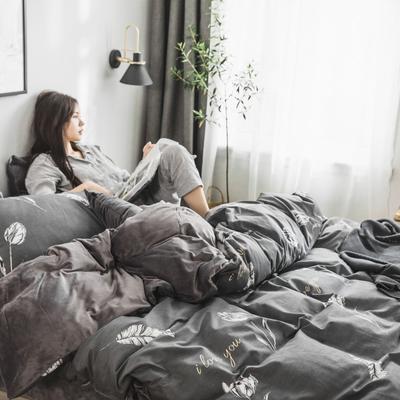 2019新款-治愈系秋冬棉绒四件套 床单款三件套1.2m(4英尺)床 玫瑰-灰