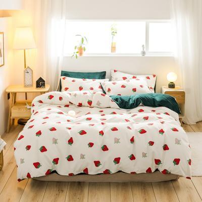 2019新款-治愈系秋冬棉绒四件套(B组风格) 床笠款四件套1.8m(6英尺)床 草莓派对