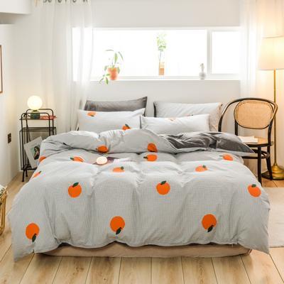 2019新款-治愈系秋冬棉绒四件套(B组风格) 床单款三件套1.2m(4英尺)床 格子橙