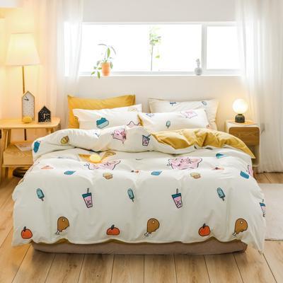 2019新款-治愈系秋冬棉绒四件套(B组风格) 床笠款四件套1.8m(6英尺)床 网红猪